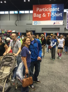 Picking up our packets at the pre- race expo. (Chicago)